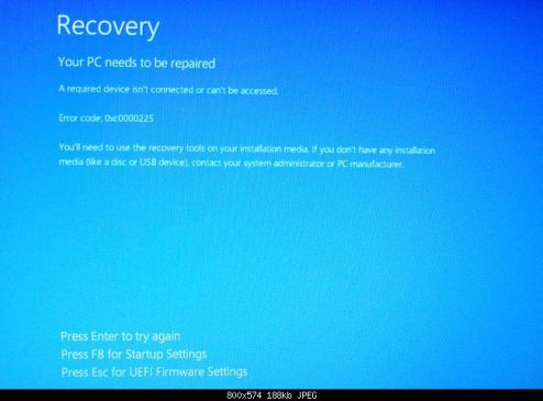 0xc0000225: Fix for Windows 7, 8, 8.1