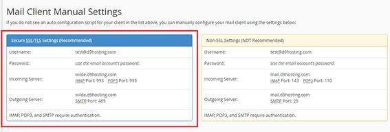 Mail Client Manual Settings ووکامرس ایمیل