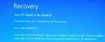 0xc0000225 unexpected error